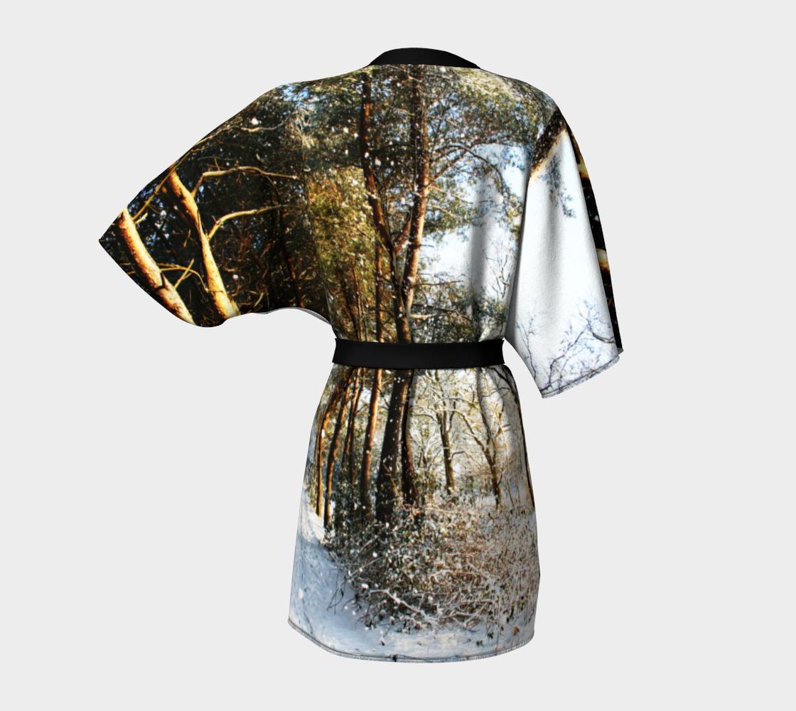 Forest Snow Scene Kimono Robe preview #4