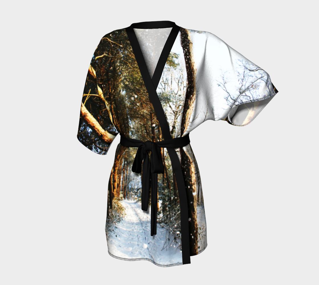 Forest Snow Scene Kimono Robe preview #1