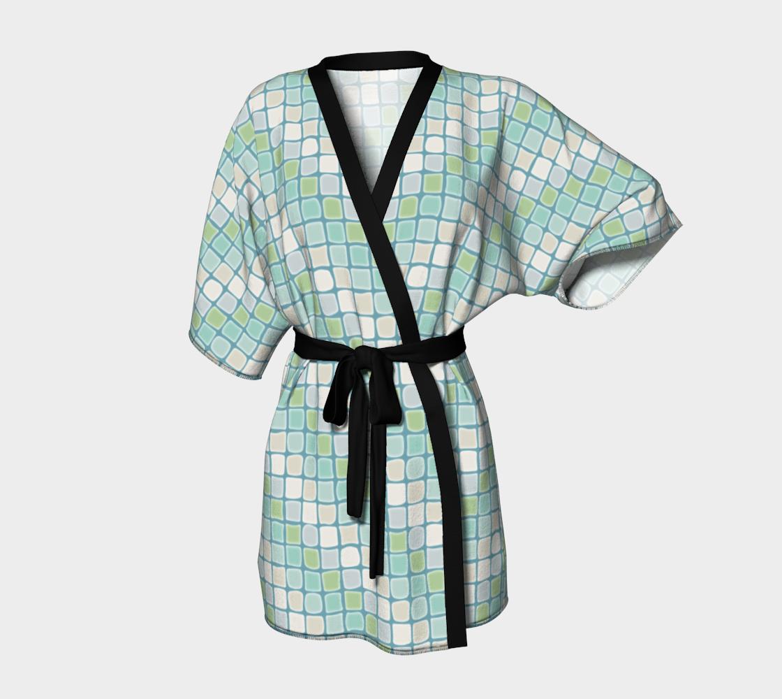 Mosaic Tiles Kimono Robe in Beachy Sea Glass Colors preview
