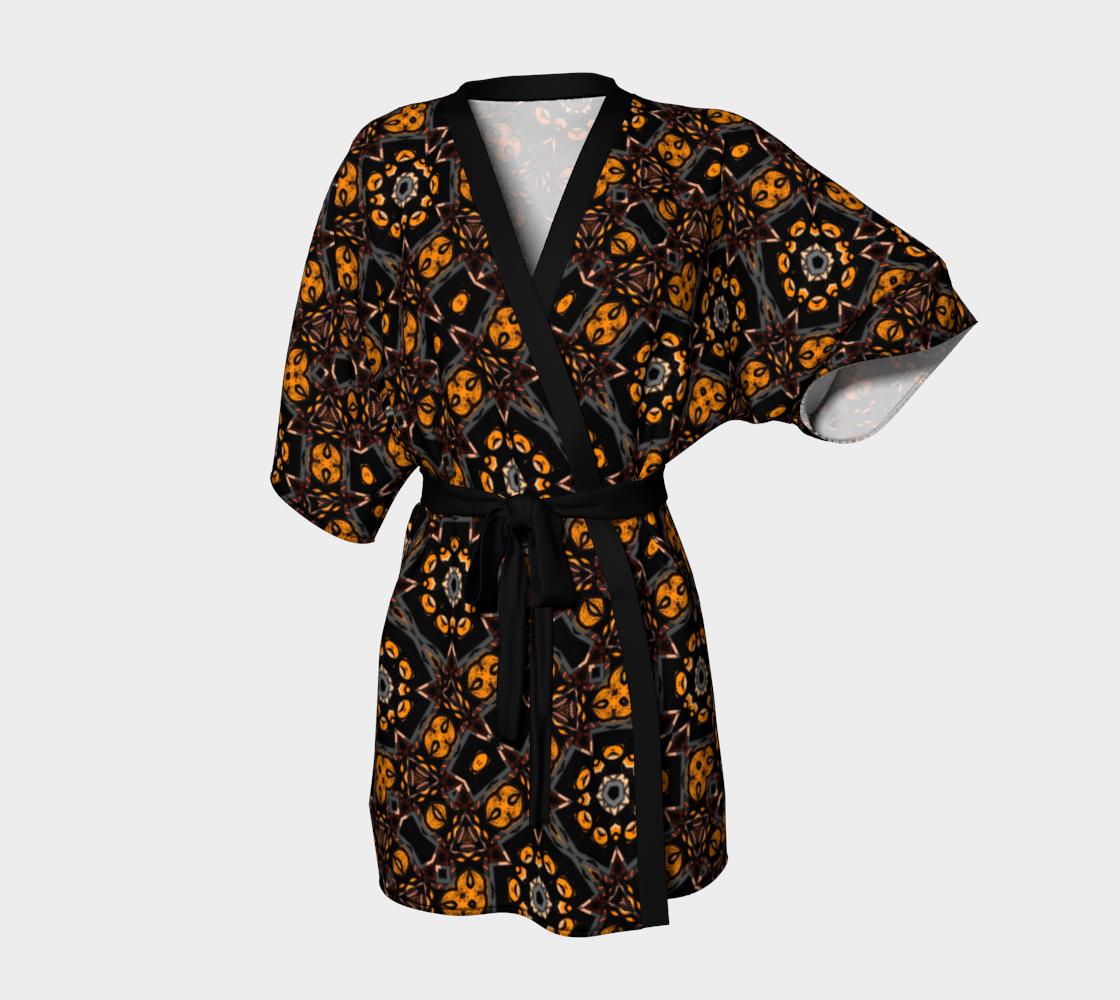 Aperçu de Jungle Green Gold Kimono Robe #1