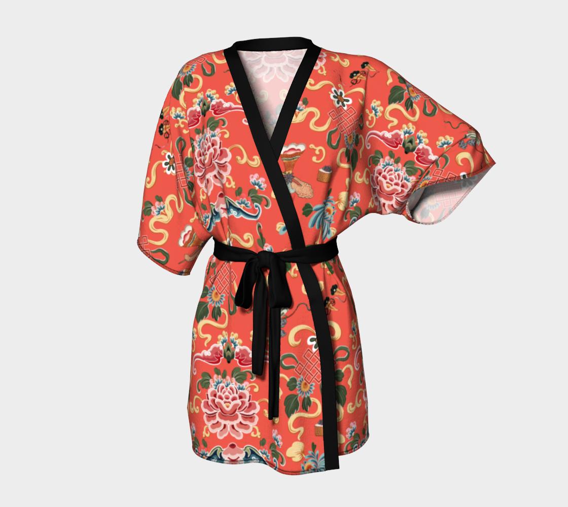 "Aperçu de Kimono Robe ""Joie de Chinois' on Red"