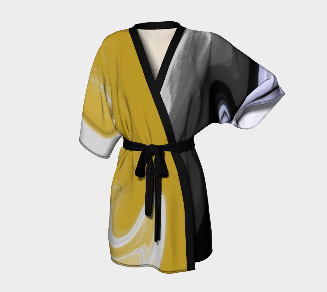 Liquid Black Gold Kimono Robe preview