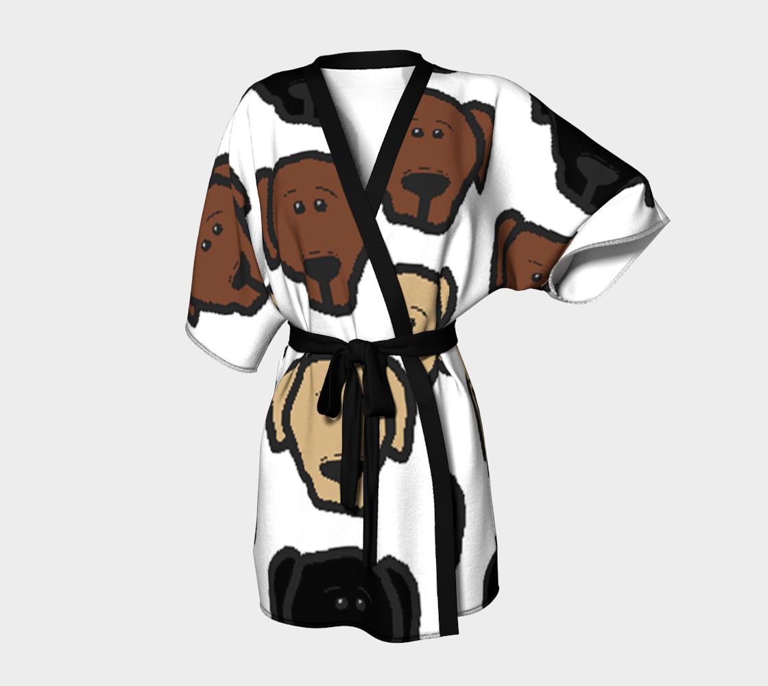 Labrador Retriever all 3 colors cartoon heads kimono robe preview