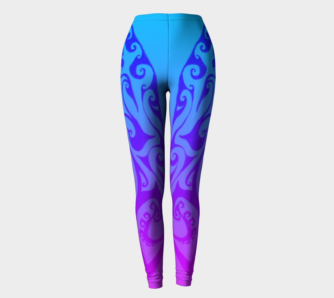 Aperçu de Katara's Waterbender I V, Blue Pink Ombre Celtic Spiral, Leggings