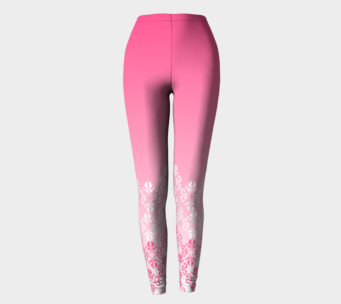 Pink Ombre Damask Pattern Leggings preview