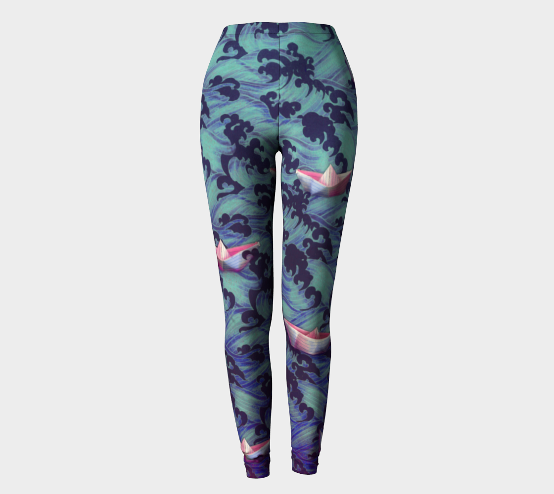 Japanese waves and paper boats leggings preview
