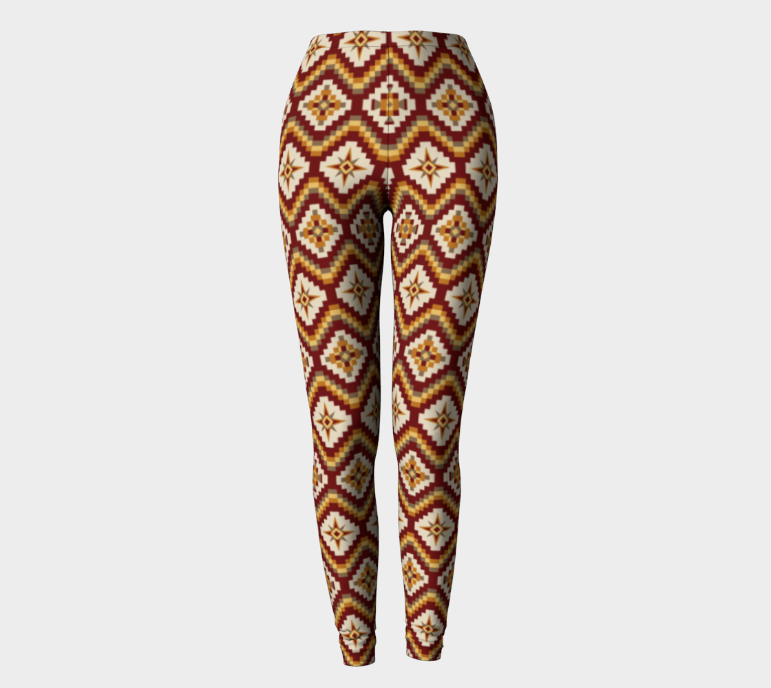 Aztec Tribal Leggings in Burgundy, Brown and Mustard preview