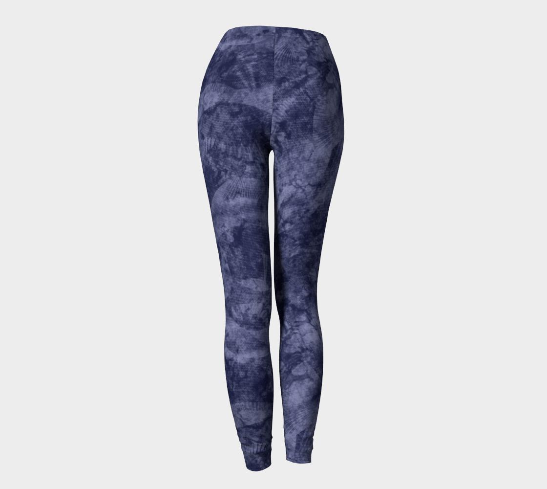Aperçu de Faded Denim Blue Batik Style Leggings #4
