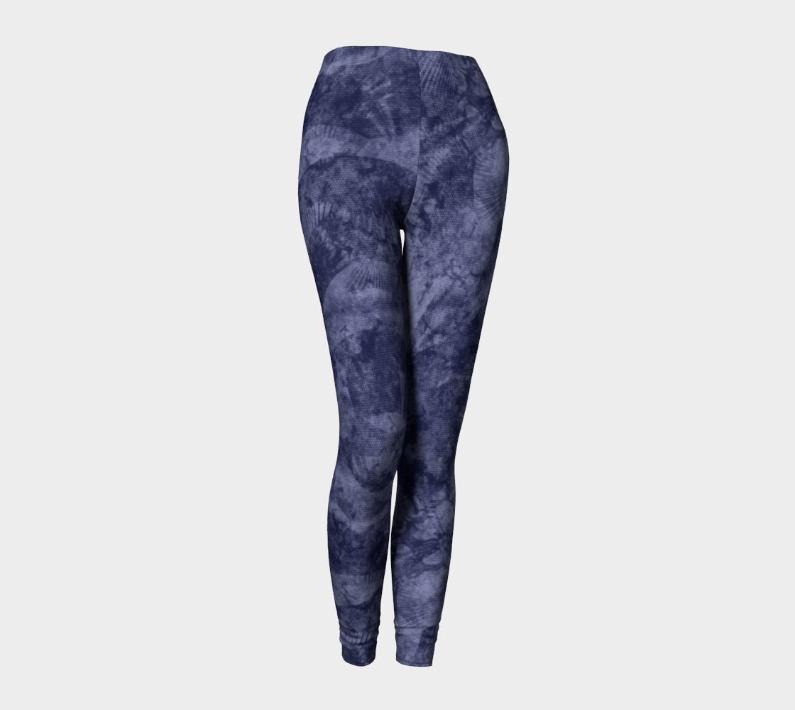 Aperçu de Faded Denim Blue Batik Style Leggings #1