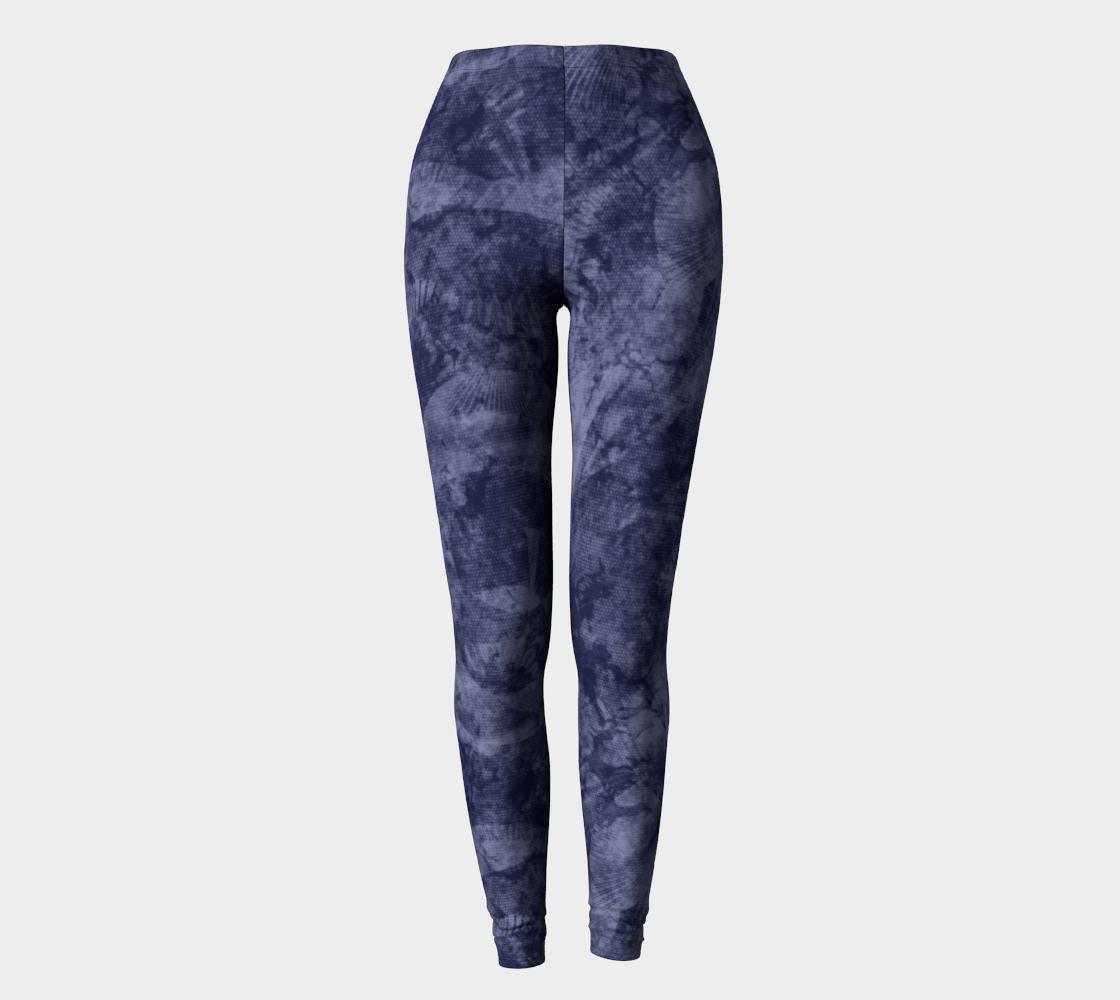 Aperçu de Faded Denim Blue Batik Style Leggings #2