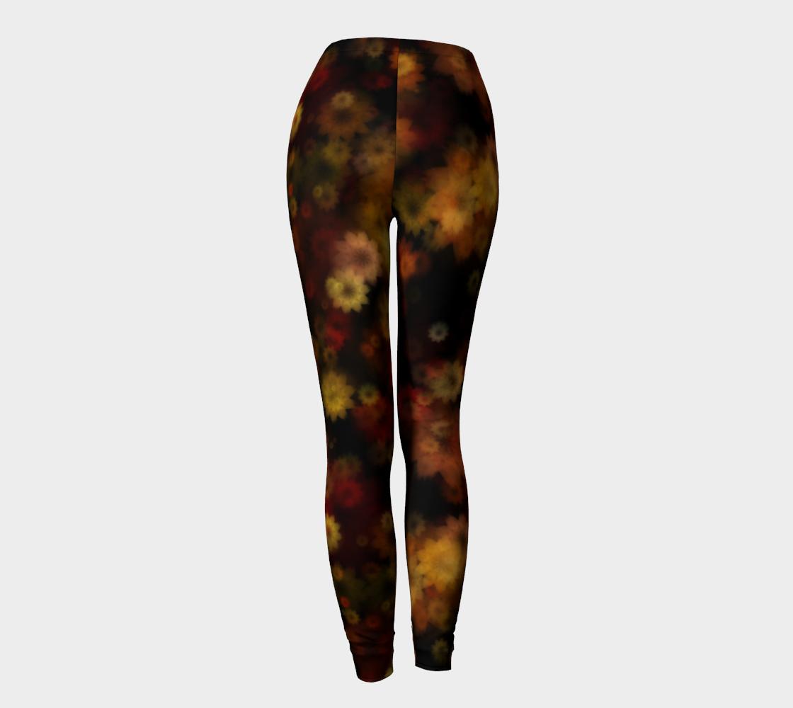 Aperçu de Moody Red Gold Floral Leggings #4