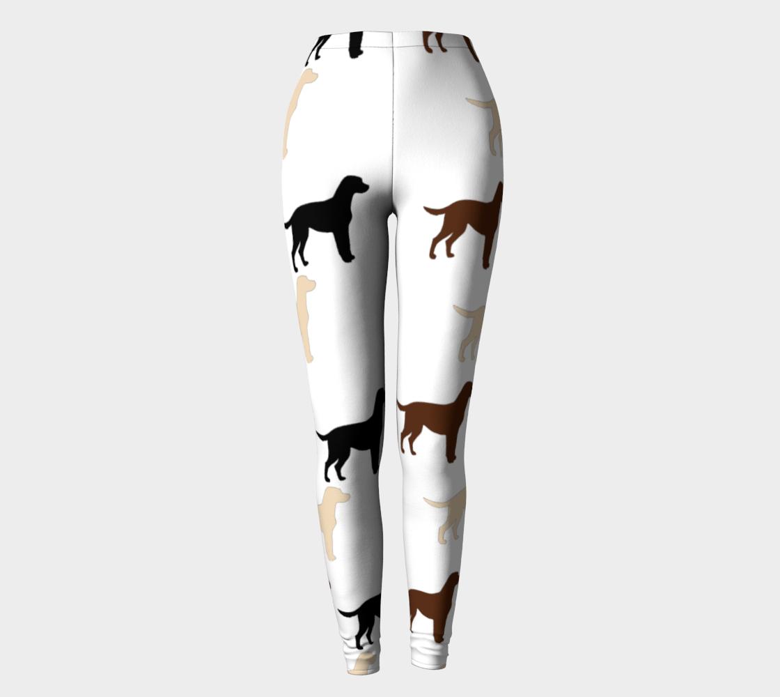 Labrador Retriever all 3 colors cartoon silhouettes leggings preview