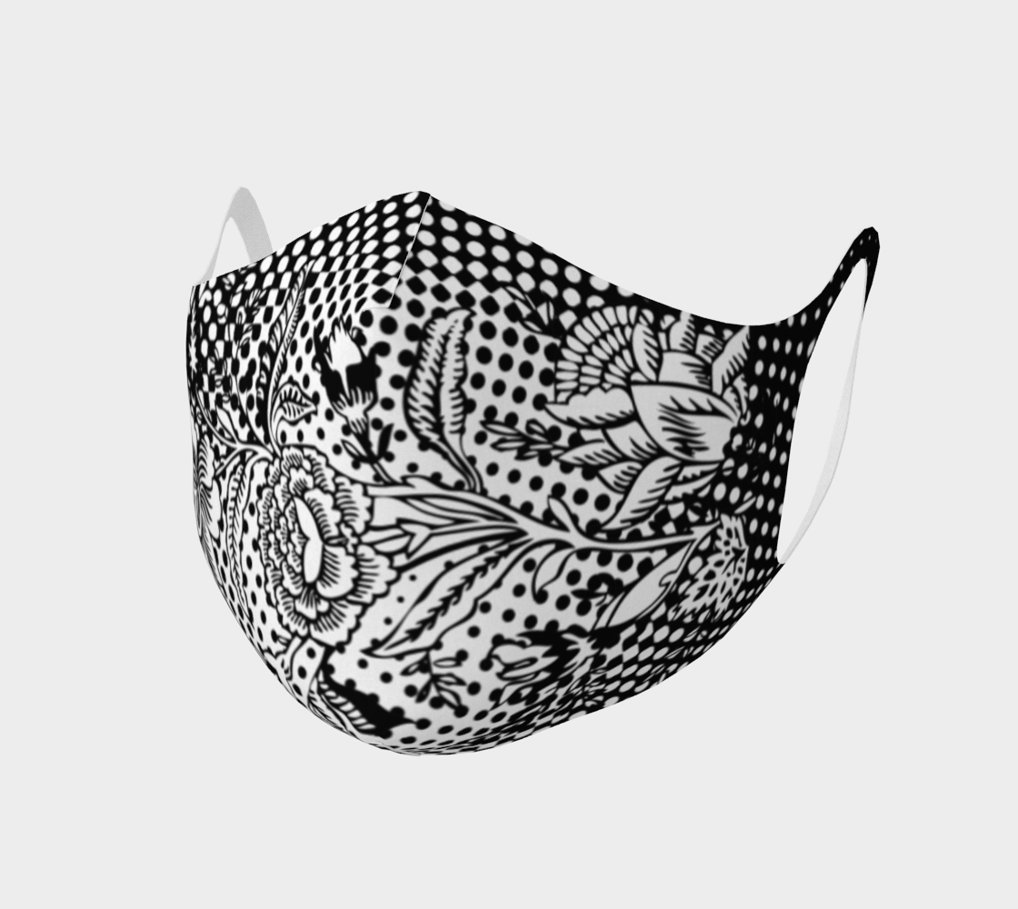 Aperçu de Face Covering Mask - Double Knit Breathable Polyester - Vintage Peony on Dots