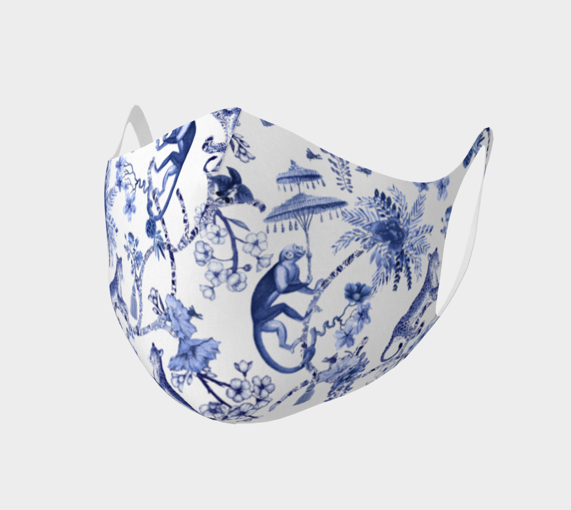 Aperçu de Face Covering Mask - Double Knit Breathable Polyester - Chinoiserie Whimsy