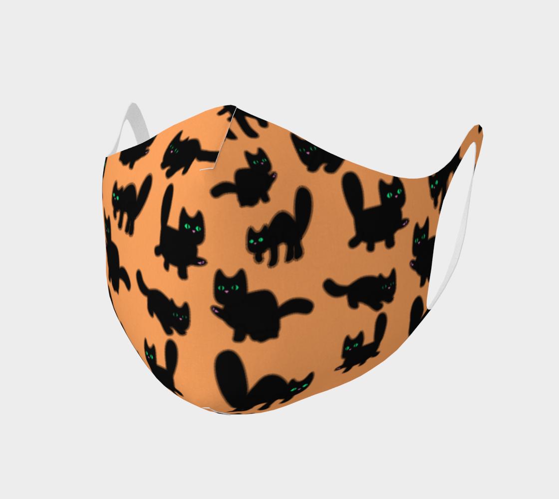 Fuzzy Kitties Black Cats Pattern (Orange BG) preview