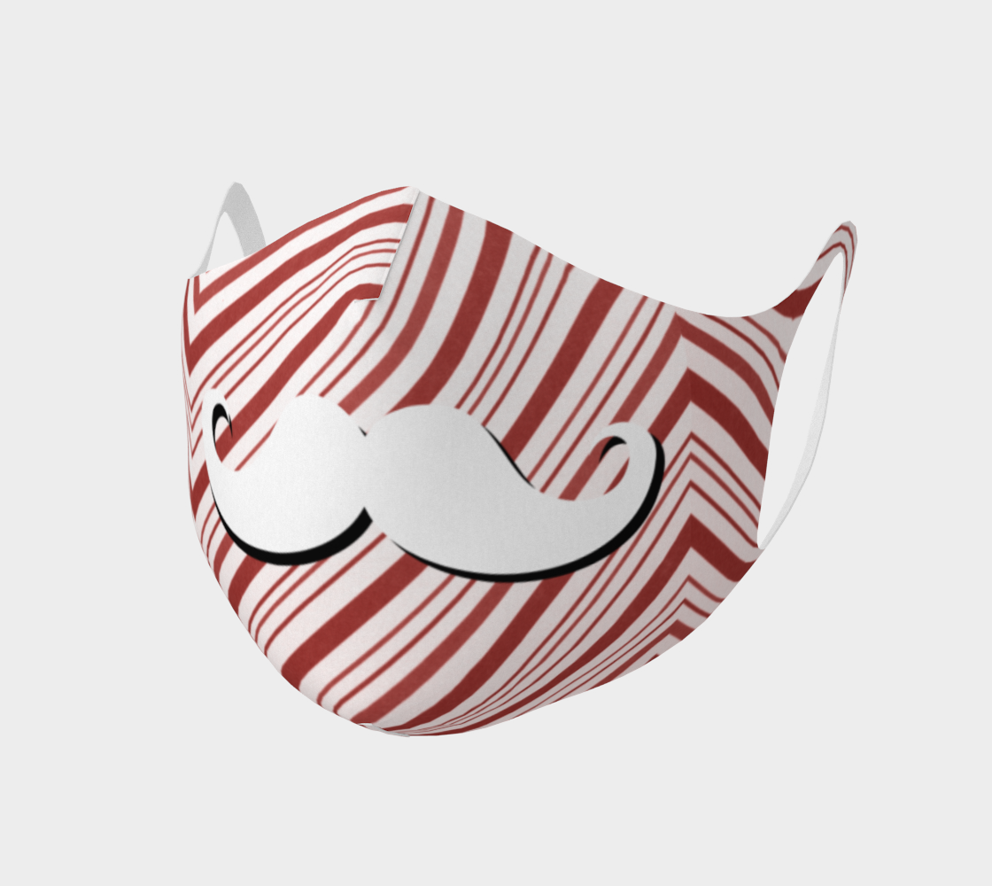 Holiday Christmas Candy Cane Moustache Man Face Covering Mask preview