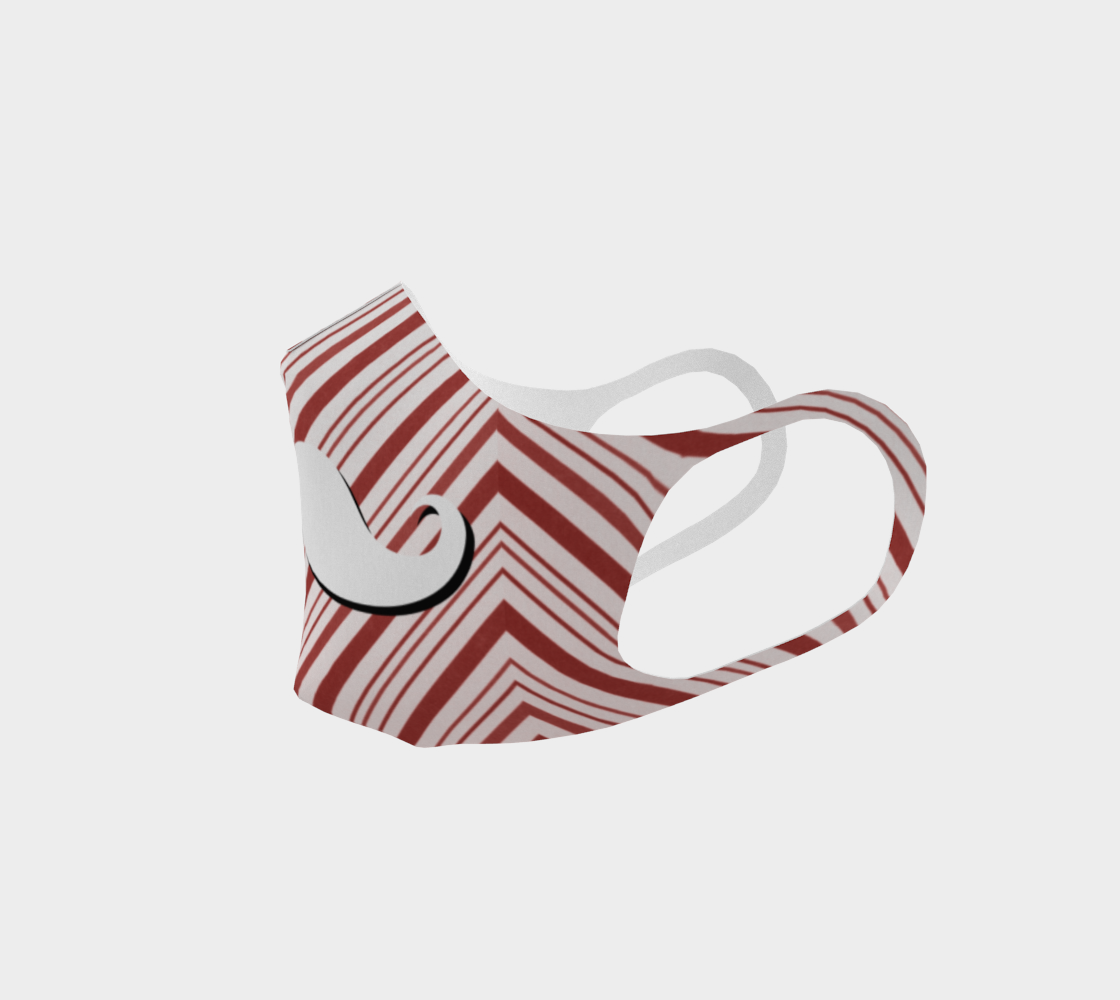 Holiday Christmas Candy Cane Moustache Man Face Covering Mask preview #2