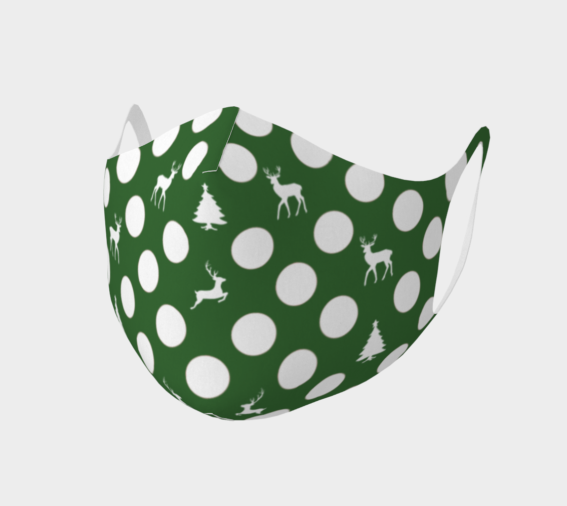 Canada Polka Dot Green Face Mask   Christmas Tree Reindeer preview