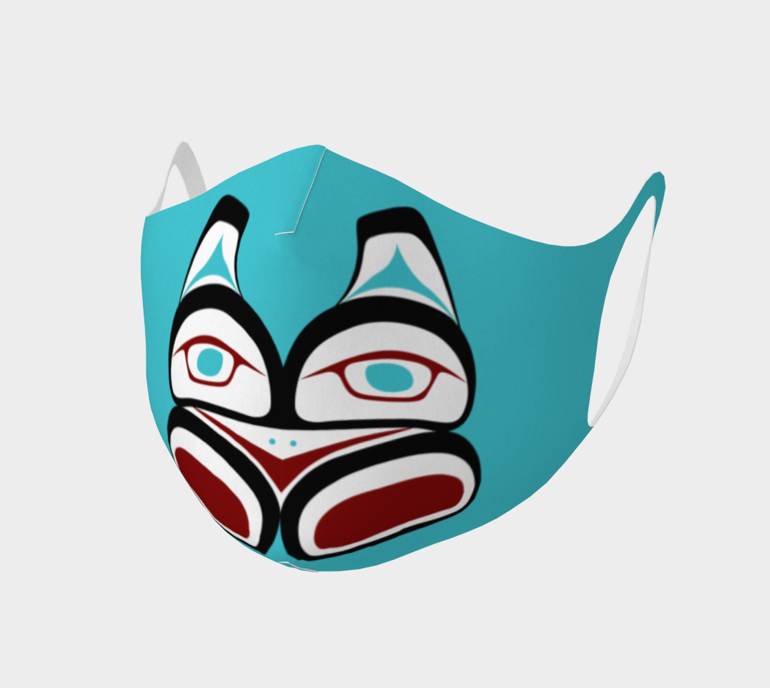 Tlingit Formline Northwest Art Double Knit Facemask on Teal Background  preview #1