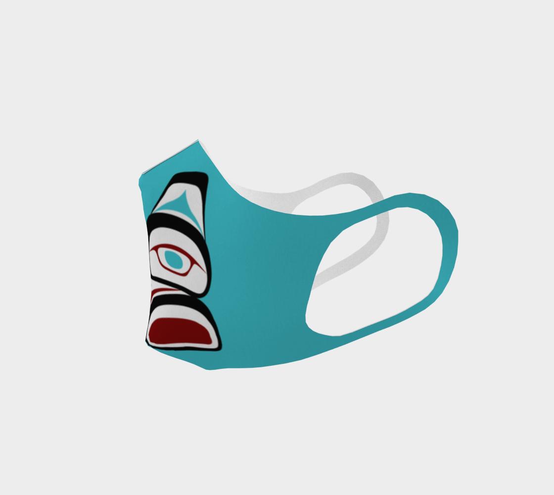 Tlingit Formline Northwest Art Double Knit Facemask on Teal Background  preview #2