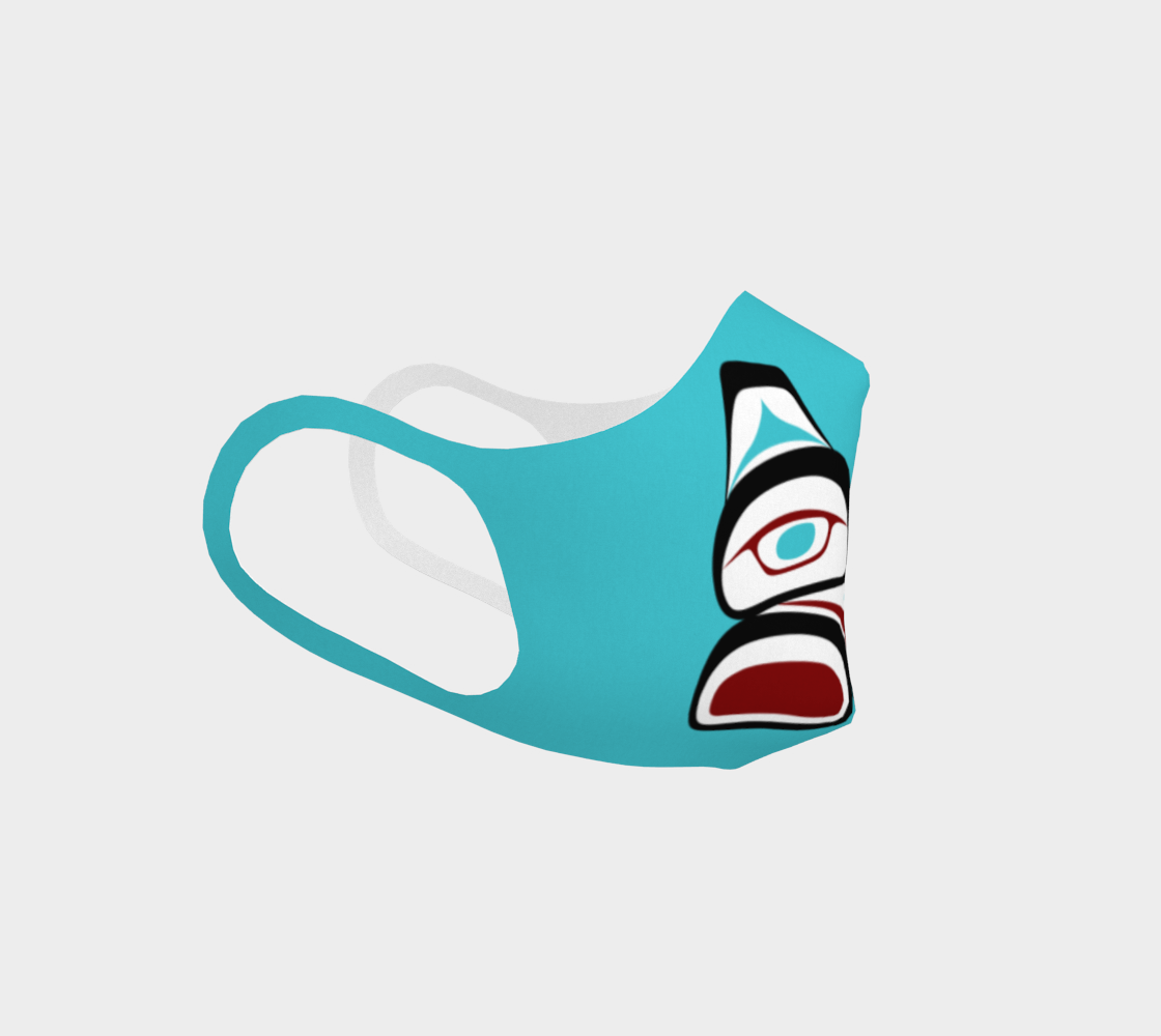 Tlingit Formline Northwest Art Double Knit Facemask on Teal Background  preview #3