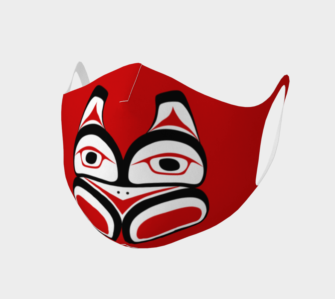Traditional Tlingit Formline Northwest Art Double Knit Facemask on Red Background preview #1