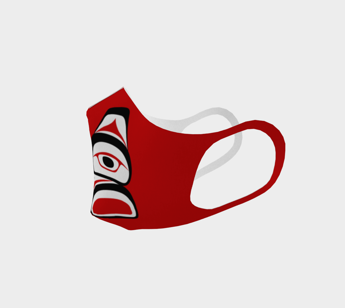 Traditional Tlingit Formline Northwest Art Double Knit Facemask on Red Background preview #2