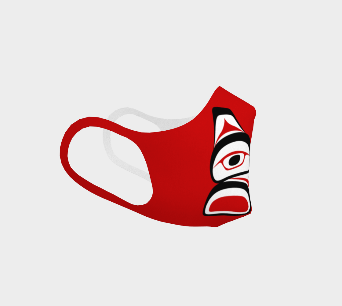 Traditional Tlingit Formline Northwest Art Double Knit Facemask on Red Background preview #3