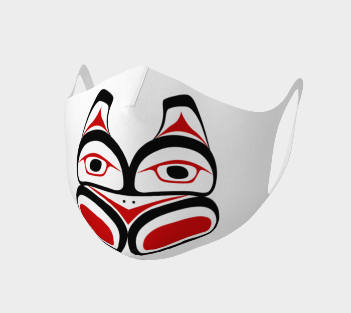 Traditional Tlingit Formline Northwest Art Double Knit Facemask on Red Background preview