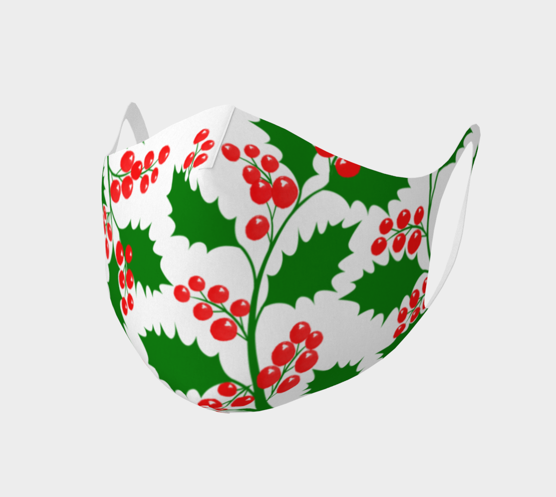 Aperçu de Face Covering Mask - Double Knit Breathable Polyester - Christmas Holly