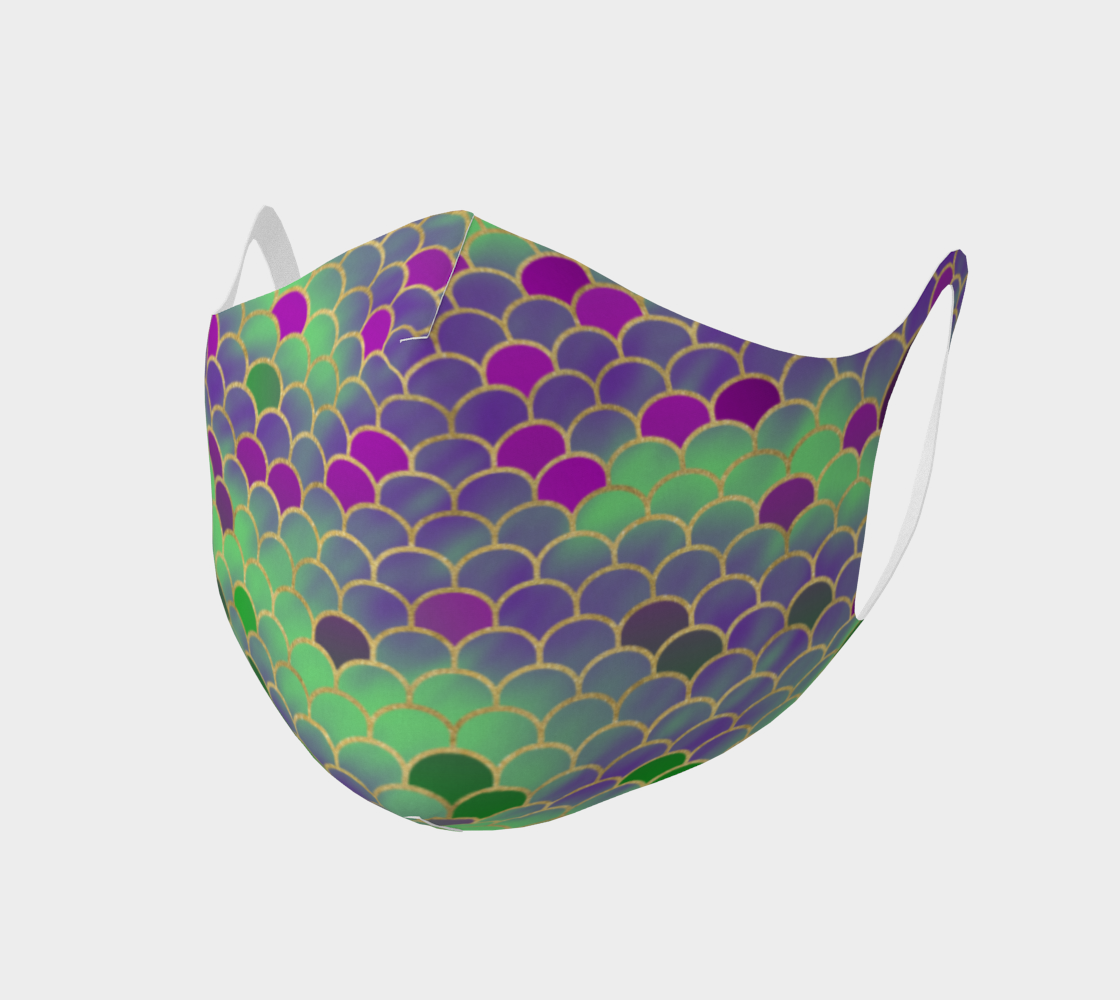 Green and Purple Mermaid Scales Double Knit Face Covering preview