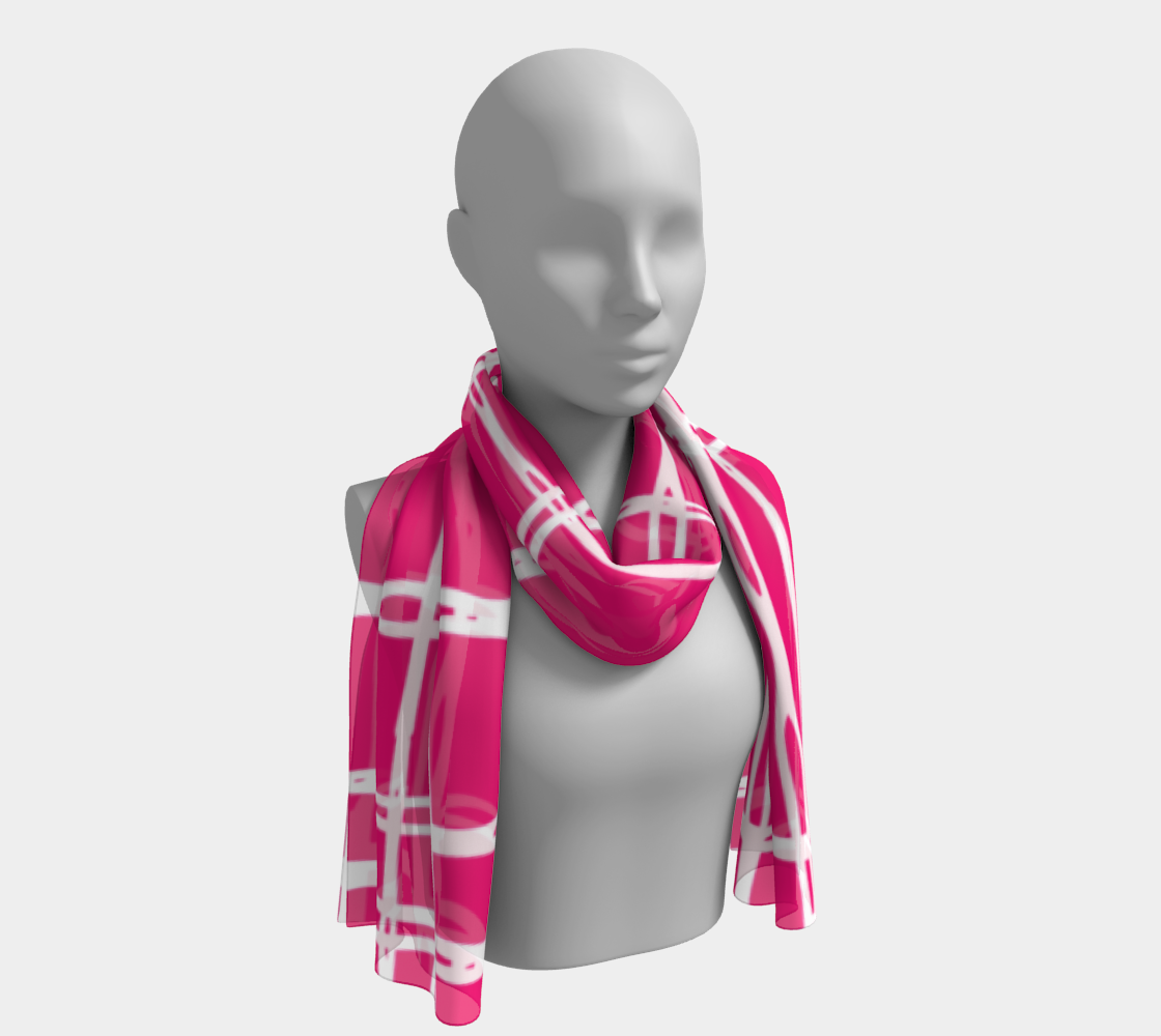 Pink and White Geometric Line Pattern Long Scarf preview