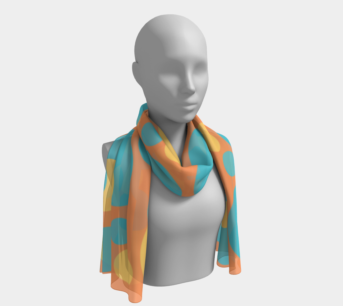 Retro Long Scarf in Blue and Yellow Dot Pattern preview