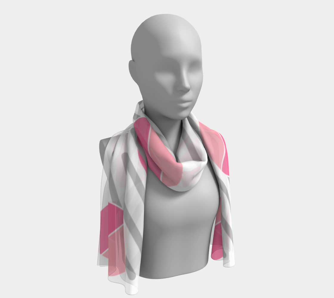 Modern Pink Circle Grey Line Abstract Long Scarf preview