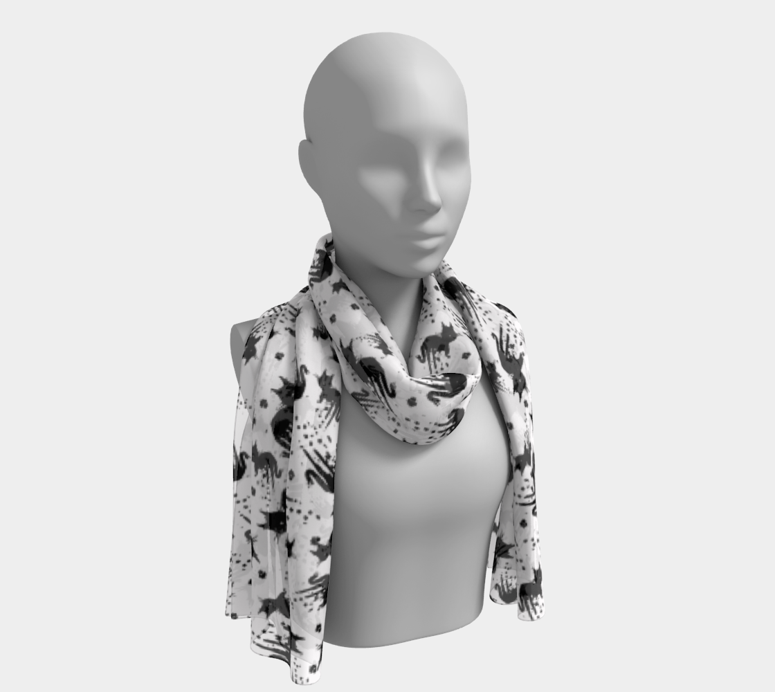 Aperçu 3D de Black Drippy Cat White Scarf