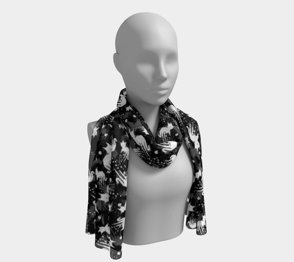 White Drippy Cat Black Scarf preview
