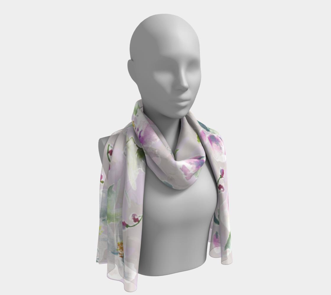 Aperçu de Lilac, Purple and White Floral Scarf