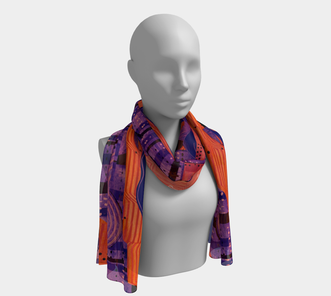 Six foot or short scarf-Cranberry Orange  collage  preview