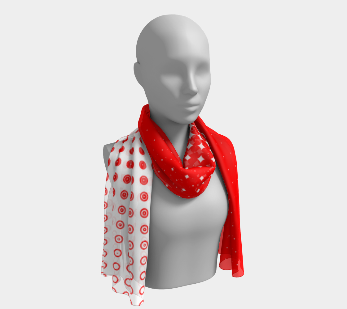 Red Dot Ombre Fade to White Long Scarf aperçu