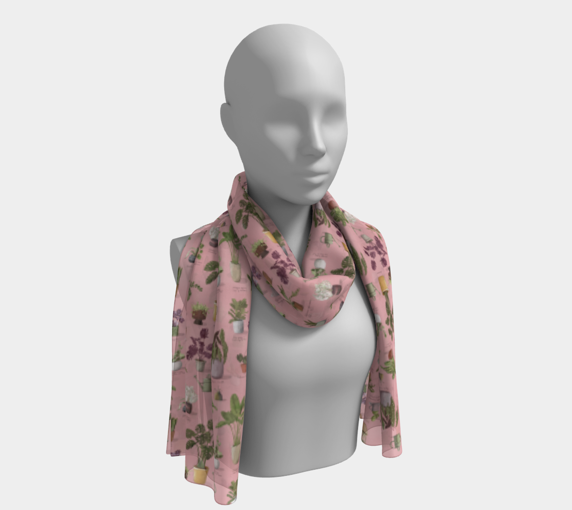 Potted Houseplants Scarf in Pretty Pink Vertical aperçu