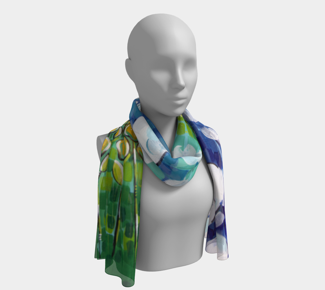 Big Sky Blooms (Painting) Long Scarf preview