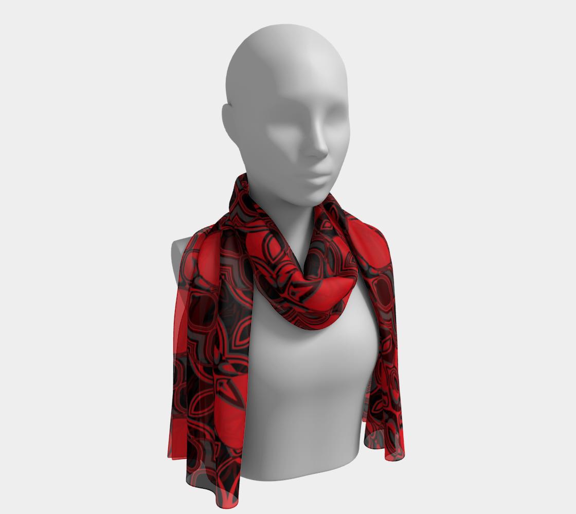 Aperçu de Abstract Red Black Pattern Long Scarf