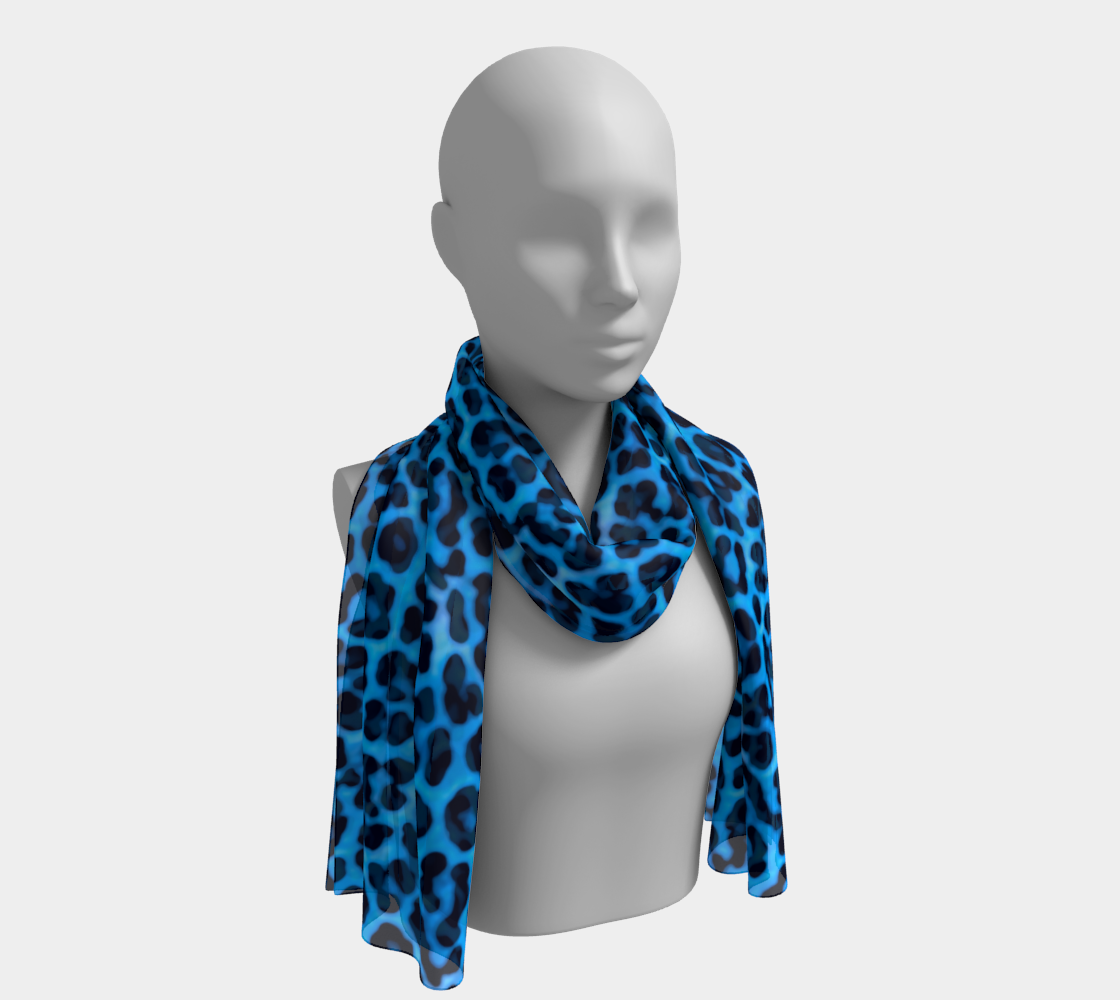 Aperçu de Blue Leopard Print Fur Spots Pattern Scarf