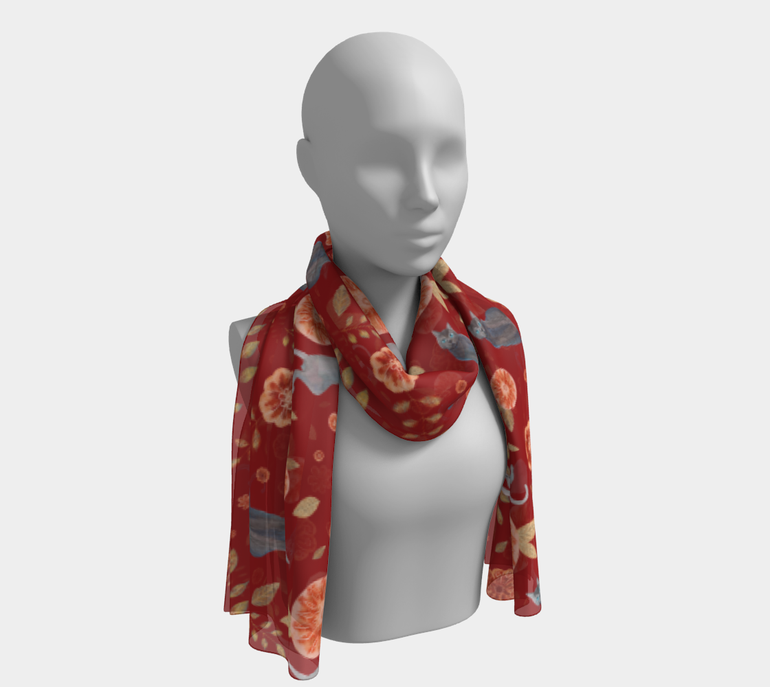 Scarlet Red Autumn with Gray cats and Flowers preview