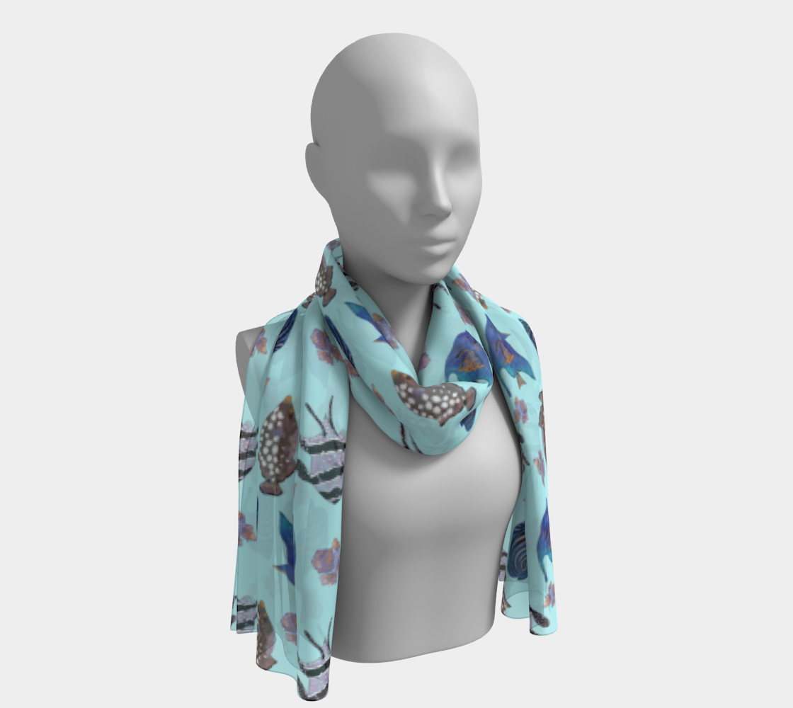 Aqua Blue Nautical Pattern with exotic Blue Fish preview