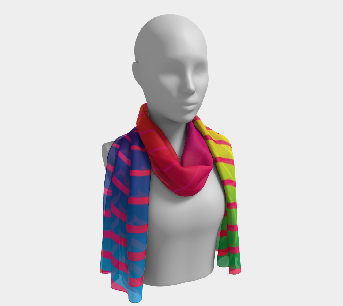 Rippled Rainbow Waves Long Scarf preview