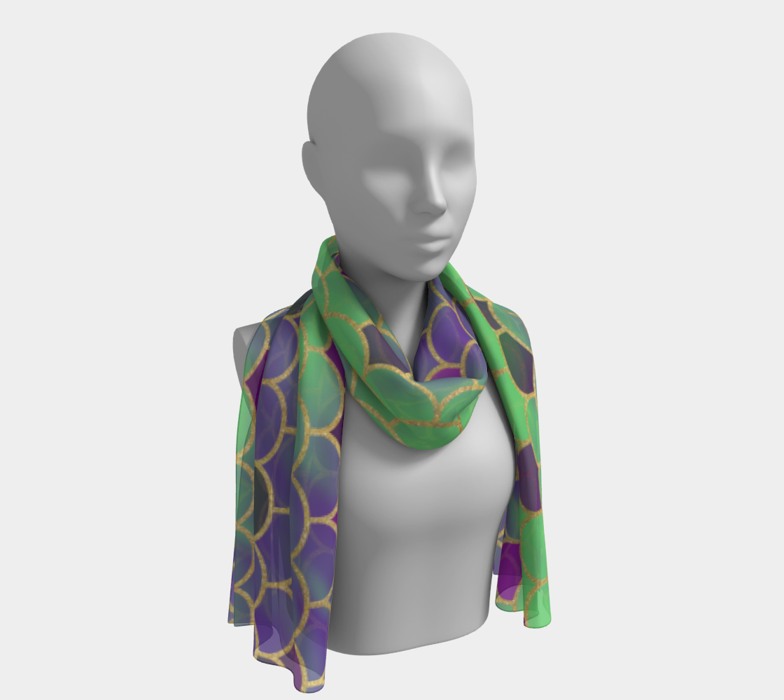 Green and Purple Mermaid Scales Long Scarf preview