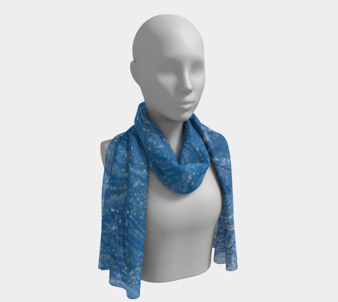 Frost Feathers in Blue long scarf preview