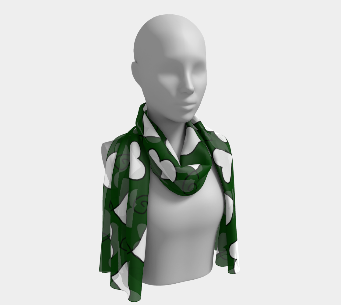 Hunter Green with White Hearts Long Scarf preview