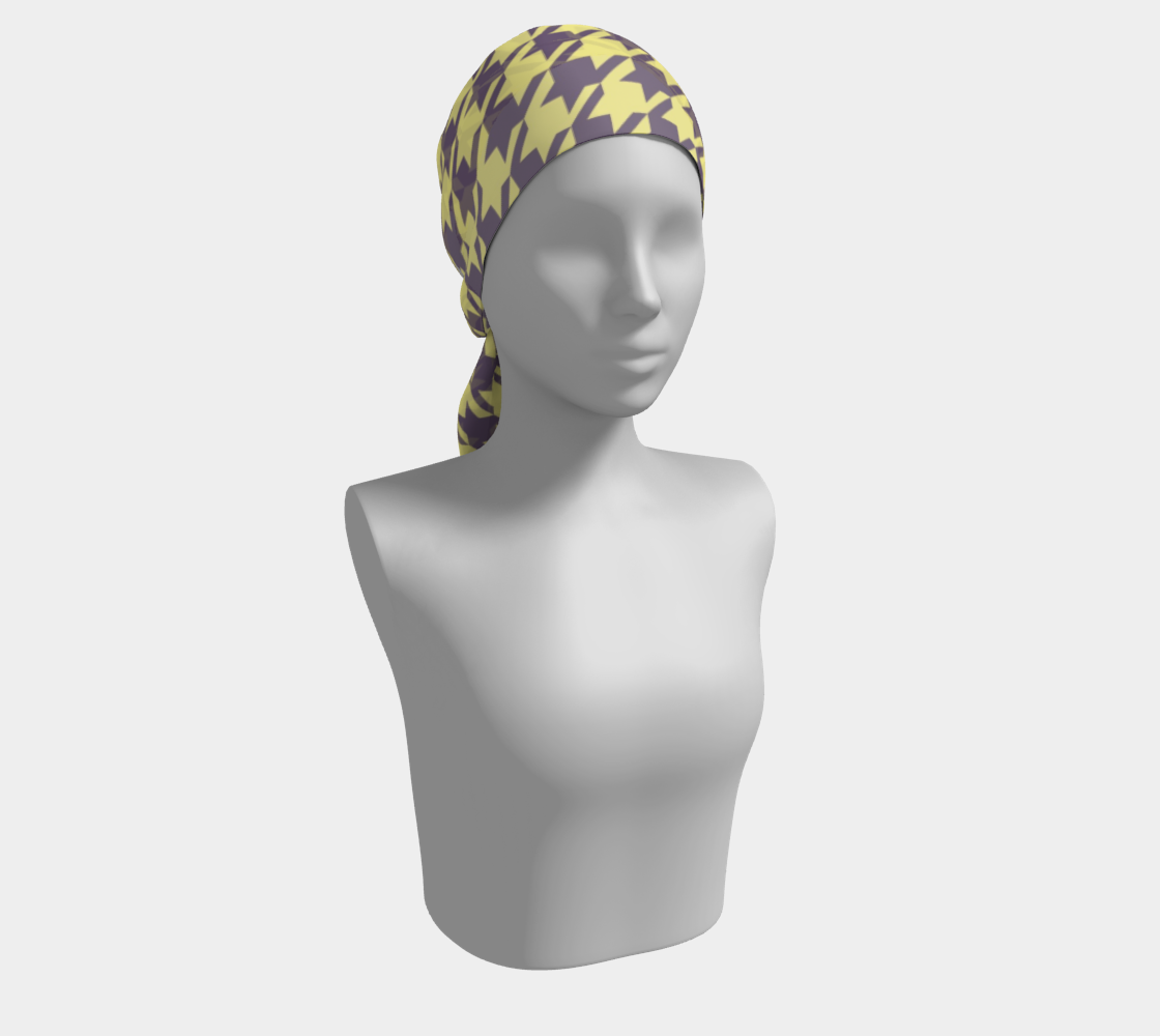 Lemon Yellow Houndstooth winter long scarf preview #2